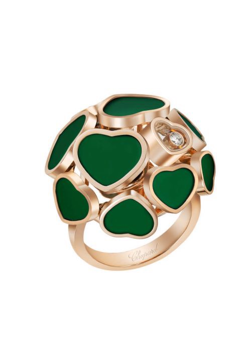 Chopard Happy Hearts Ring Rose Gold and Natural Green Agate