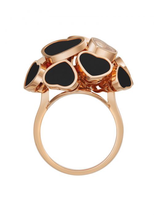 Chopard Happy Hearts Ring Rose Gold and Natural Black Onyx