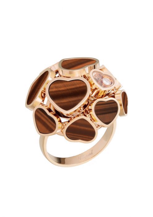 Chopard Happy Hearts Ring Rose Gold and Nature Tiger's Eye