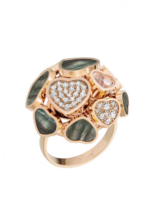 Chopard Happy Hearts Ring Rose Gold Natural Black Tahitian Mother-Of-Pearl and Diamond