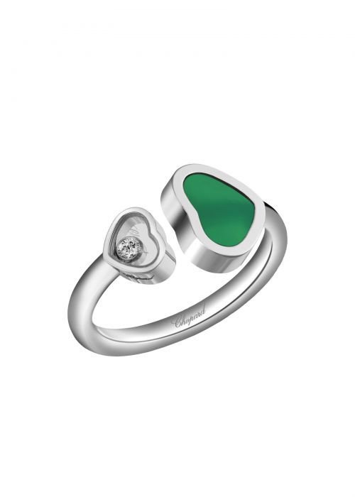 Chopard Happy Hearts Ring White Gold and Natural Green Agate
