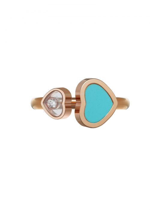 Chopard Happy Hearts Ring Rose Gold and Turquoise Stone