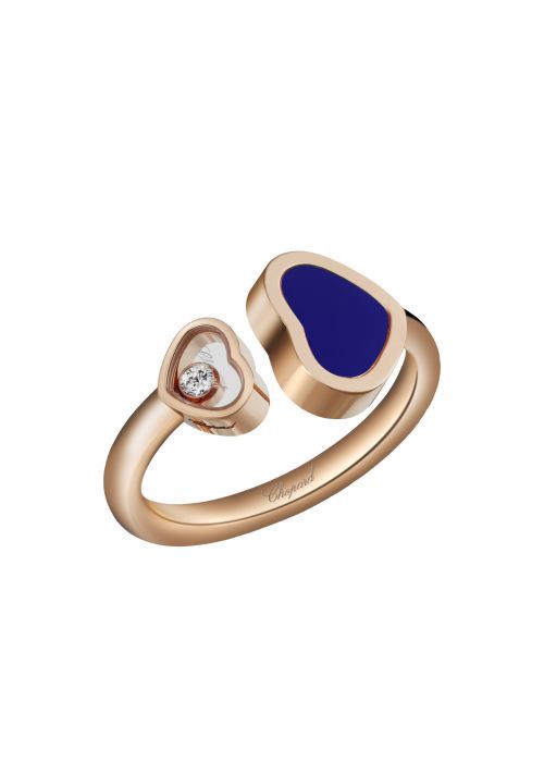 Chopard Happy Hearts Ring Rose Gold and Blue Stone