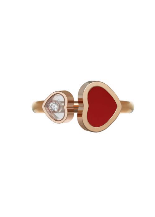 Chopard Happy Hearts Ring Rose Gold and Red Stone