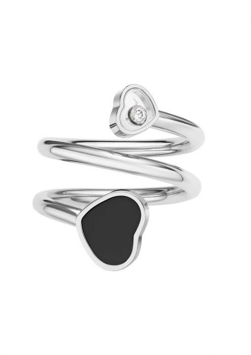 Chopard Happy Hearts Twist Ring White Gold and Black Onyx