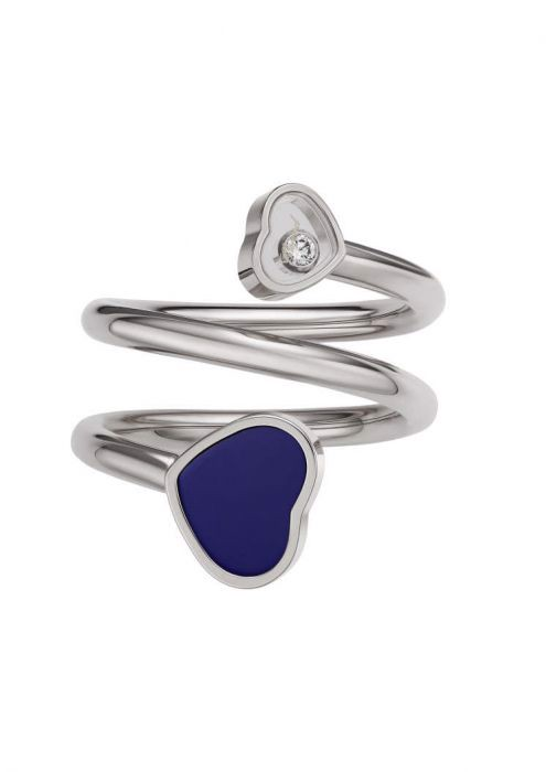 Chopard Happy Hearts Twist Ring White Gold and Blue Stone
