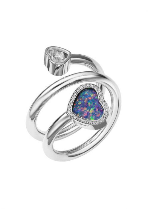 Chopard Happy Hearts Twist Ring White Gold, Diamond and Opal