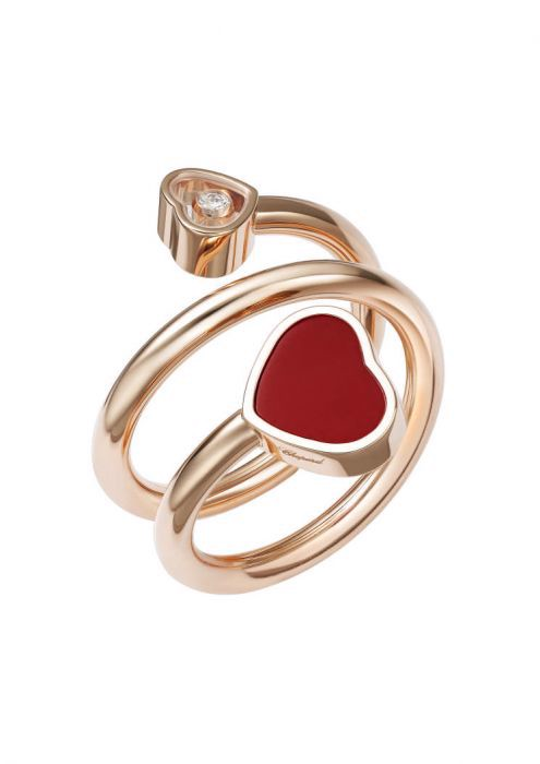 Chopard Happy Hearts Twist Ring Rose Gold and Red Stone