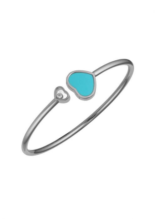 Chopard Happy Hearts Bangle White Gold Diamond - Turquoise Stone