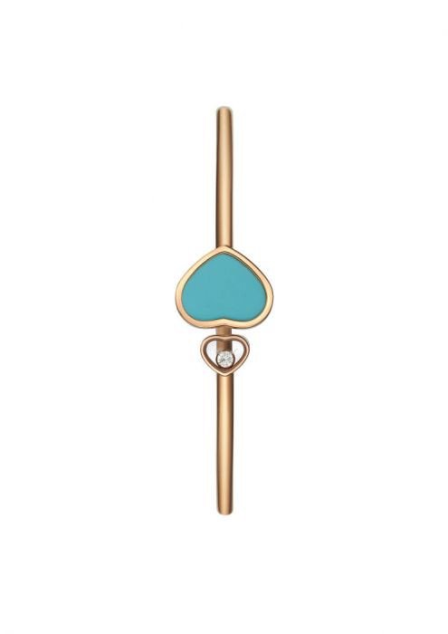 Chopard Happy Hearts Bangle Rose Gold Diamond - Turquoise Stone