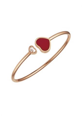 Chopard Happy Hearts Bangle Rose Gold Diamond - Red Stone