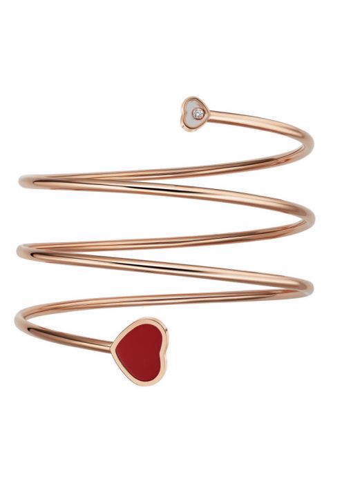 Chopard Happy Heart Twist Bangle Rose Gold Diamond - Red Stone