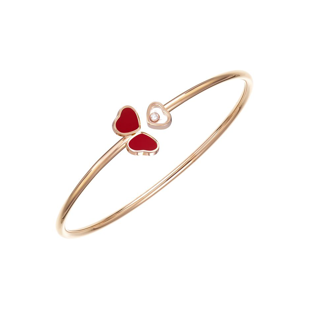 Chopard Happy Hearts Wings Bangle Rose Gold Diamond Red Stone