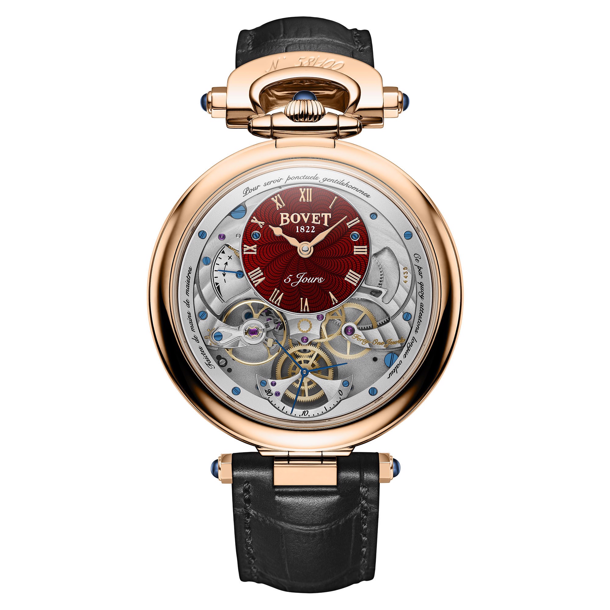 Bovet Fleurier Complications Virtuoso V Rose Gold Red guilloché Dial
