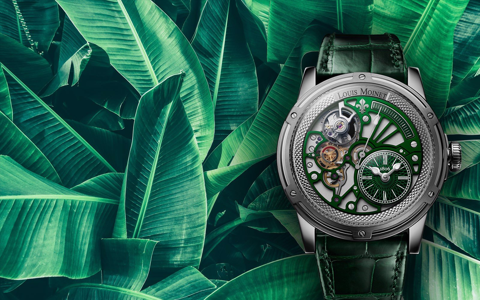 Đồng hồ nam Louis Moinet Tempograph Chrome Green Steel 44mm