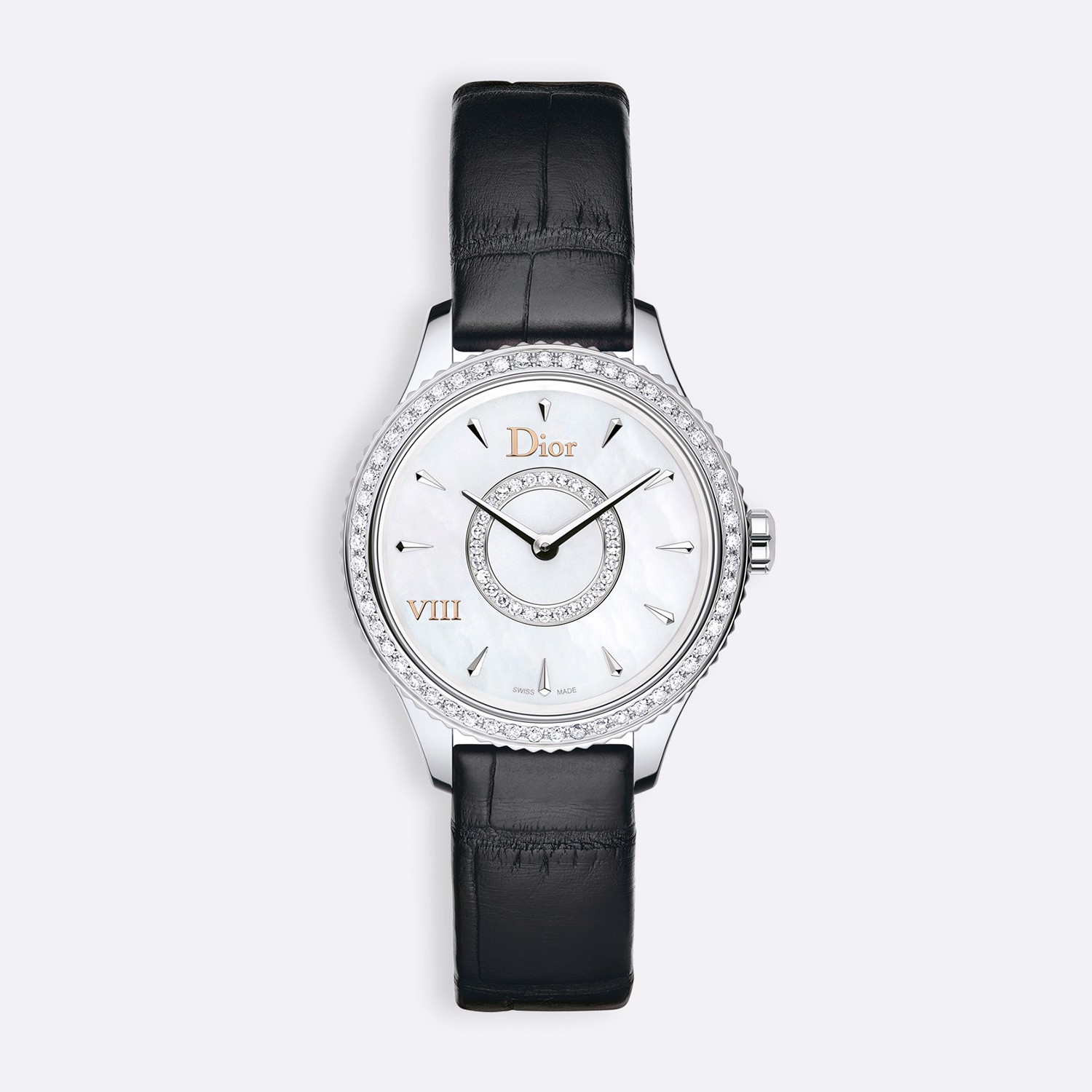 Đồng hồ nữ Dior VIII Montaigne Diamonds Leather Strap Ø 25mm