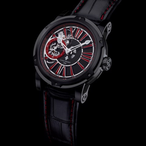 Đồng hồ nam Louis Moinet Metropolis Steel Black and Red 43.2mm