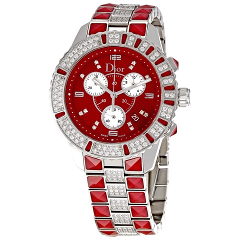 Đồng hồ nữ Dior Christal Red Sapphire & Diamond Chronograph Ø 38mm