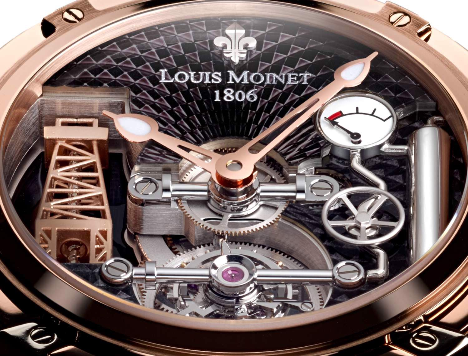 Đồng hồ nam Louis Moinet Derrick Gaz Tourbillon Rose Gold 47mm