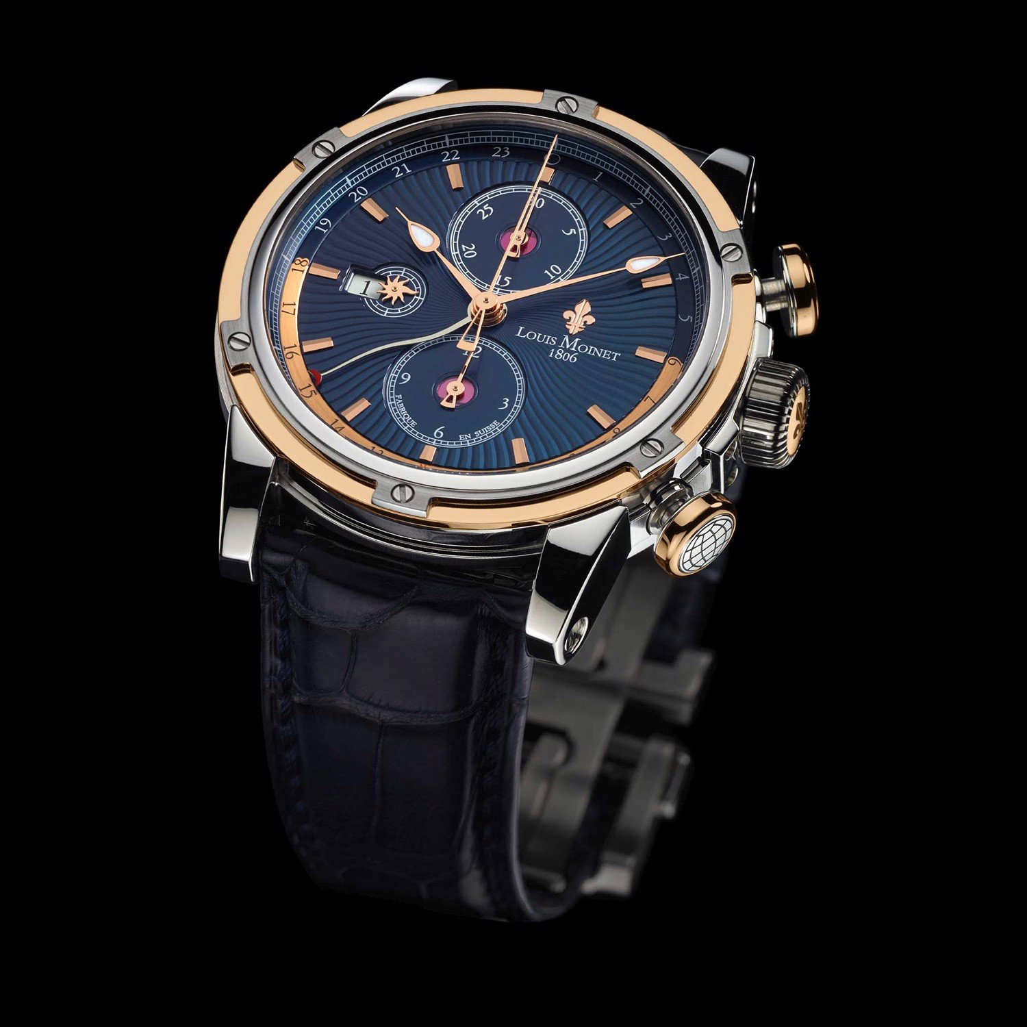 Đồng hồ nam Louis Moinet Geograph Steel & 18k Gold Blue Dial 46.5mm