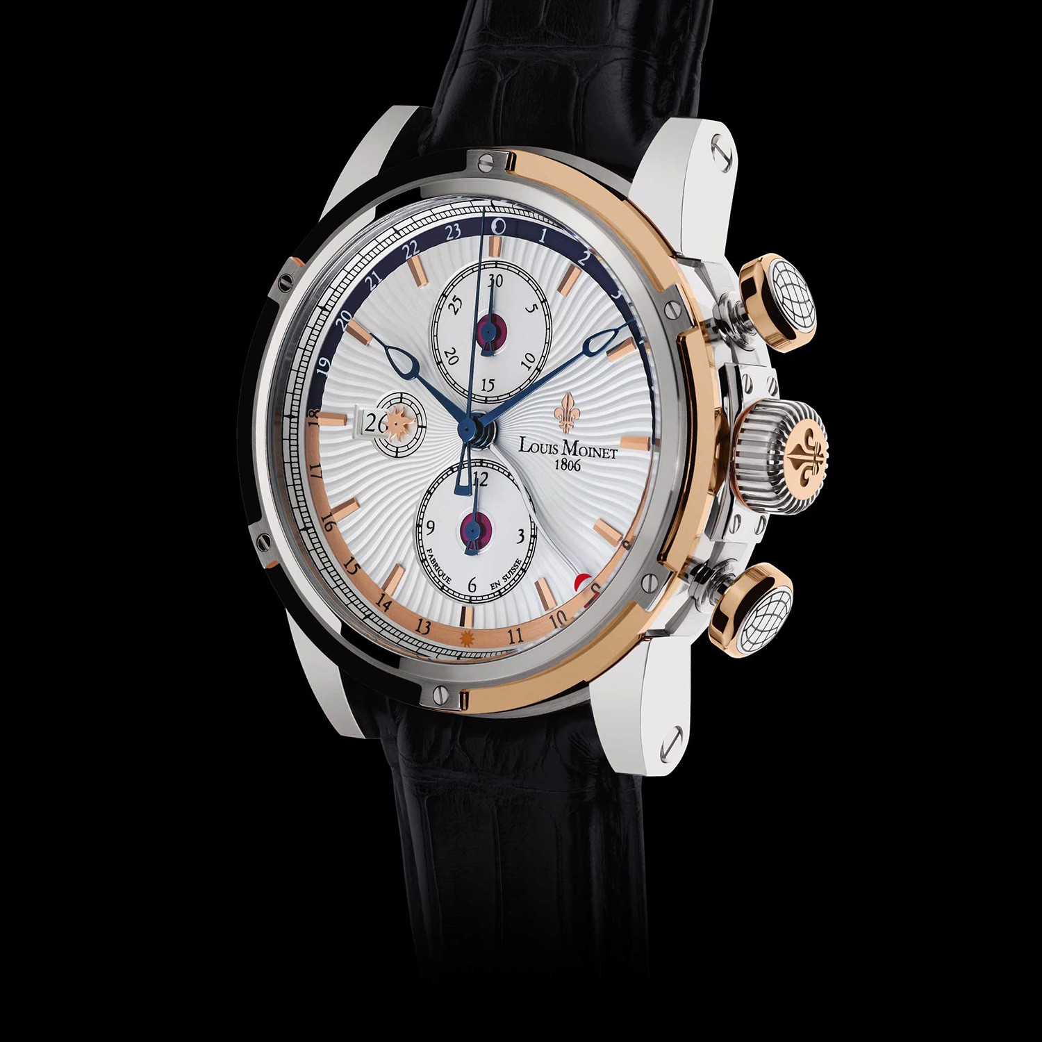 Đồng hồ nam Louis Moinet Geograph Steel & 18k Gold White Dial 46.5mm