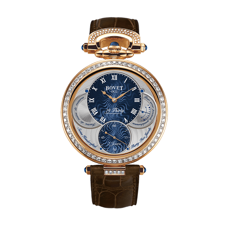 Đồng hồ nam Bovet 19Thirty Fleurier Blue Dial 18k Red Gold set with diamonds 42mm