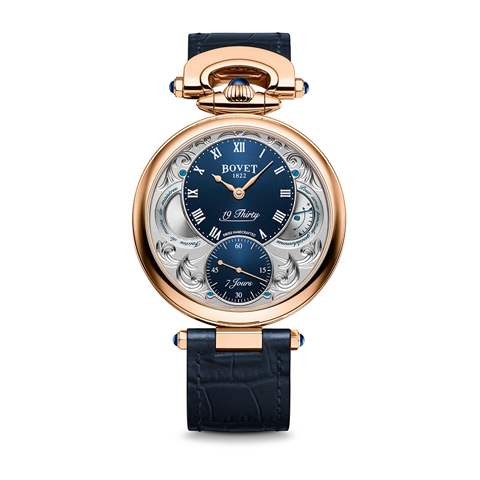 Bovet 19Thirty Fleurier Hand-engraved Blue Dial 18k Red Gold 42mm