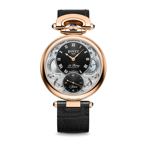 Bovet 19Thirty Fleurier Hand-engraved Black Dial 18k Red Gold 42mm