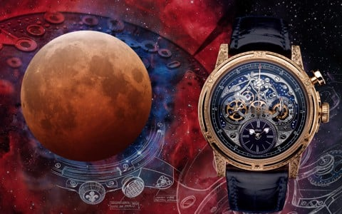 Đồng hồ nam Louis Moinet Memoris Red Eclipse Rose Gold hand-engraved 46mm