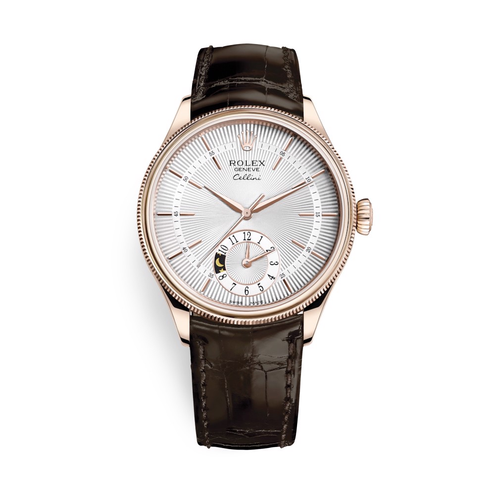 Rolex Cellini Dual Time 39mm Rose Gold Silver Brown Strap 50525-0008
