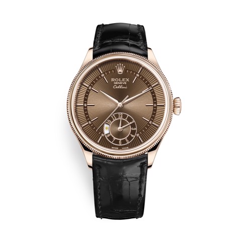 Rolex Cellini Dual Time 39mm Rose Gold Brown Black 50525-0016