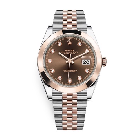 Rolex Datejust 41mm Steel and Everose Gold Chocolate Diamonds 126301-0004