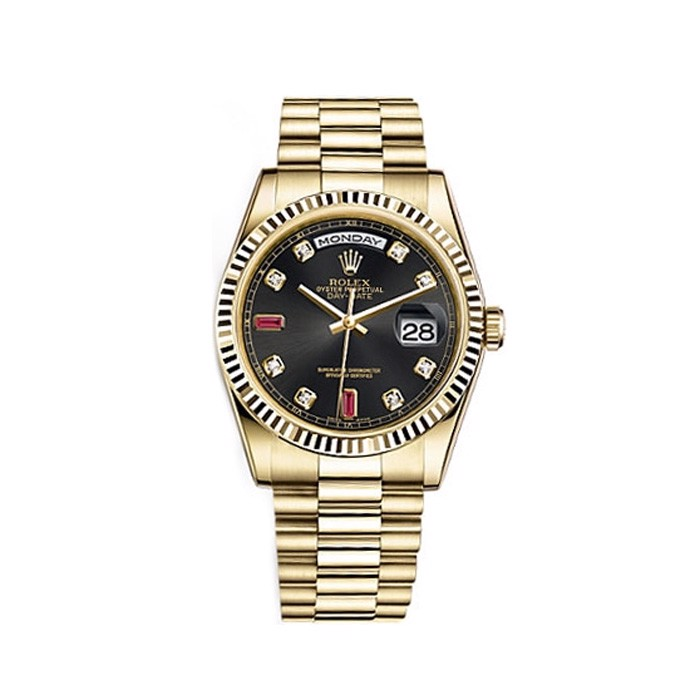 Rolex Day-Date 36mm Yellow Gold Black Diamond Ruby Oyster 118238