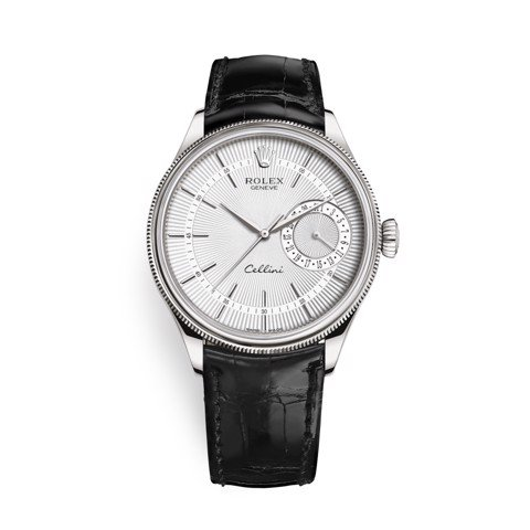 Rolex Cellini Date 39mm White Gold Silver Black 50519-0006