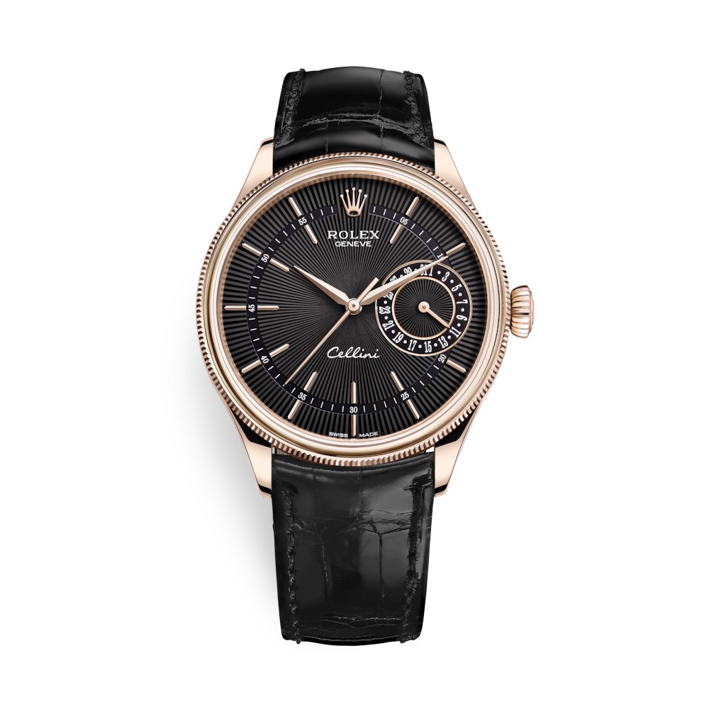 Rolex Cellini Date 39mm Rose Gold Black Black 50515-0011