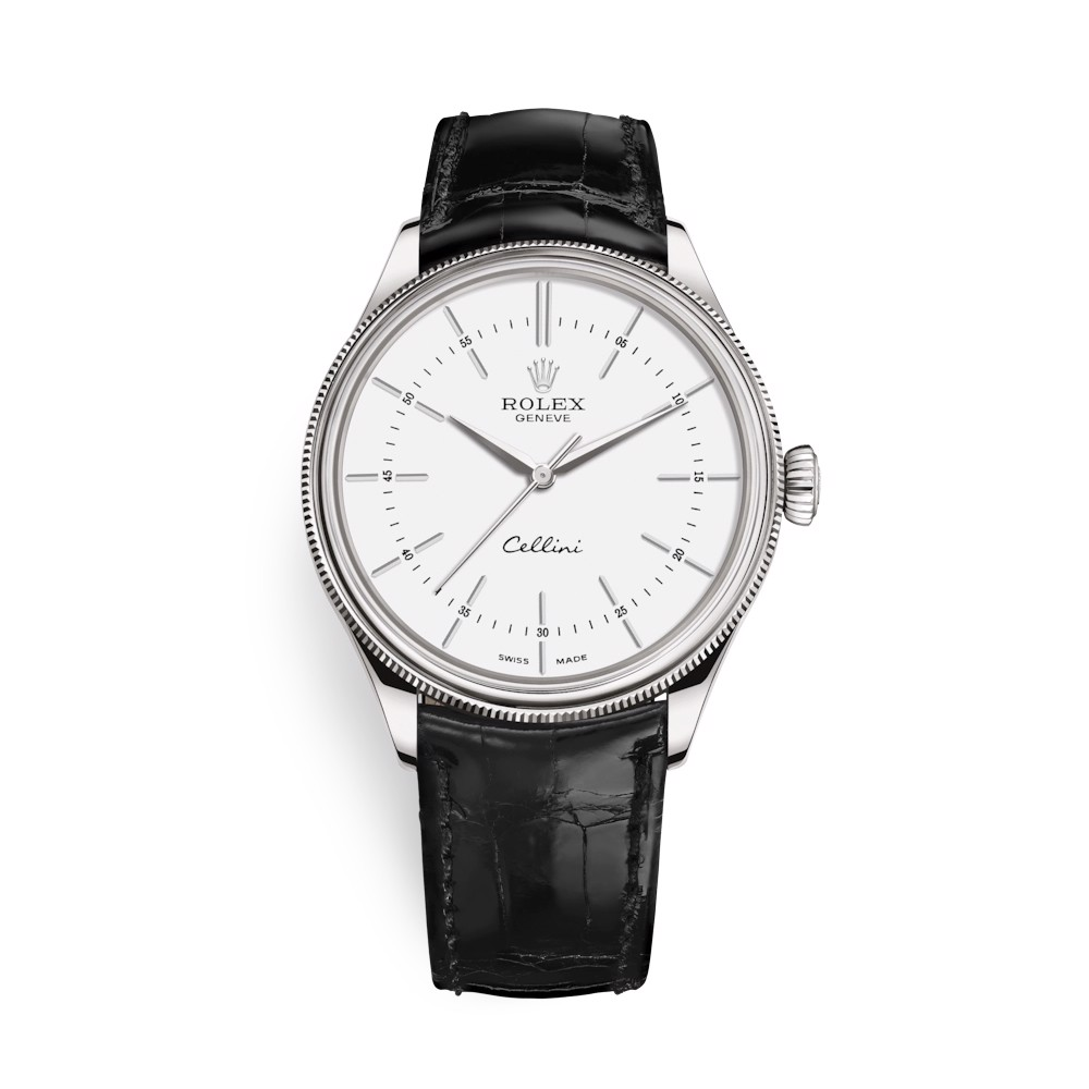 Rolex Cellini Time 39mm White Gold White Black Strap 50509-0016