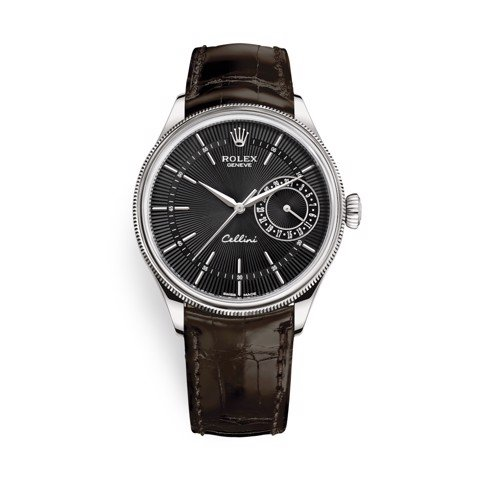 Rolex Cellini Date 39mm White Gold Black Brown 50519-0014