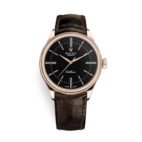 Rolex Cellini Time 39mm Rose Gold Black Brown Strap 50505-0008