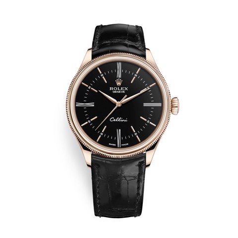 Rolex Cellini Time 39mm Rose Gold Black Black Strap 50505-0009