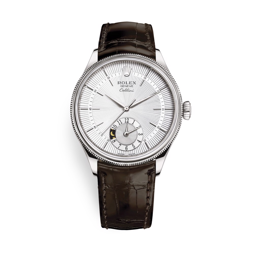 Rolex Cellini Dual Time 39mm White Gold Silver Brown Strap 50529-0009