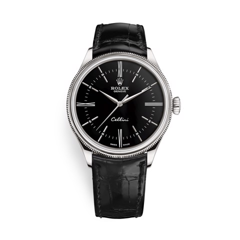 Rolex Cellini Time 39mm White Gold Black Black Strap 50509-0006