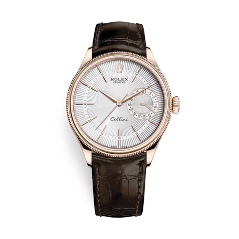 Rolex Cellini Date 39mm Rose Gold Silver Brown 50515-0008