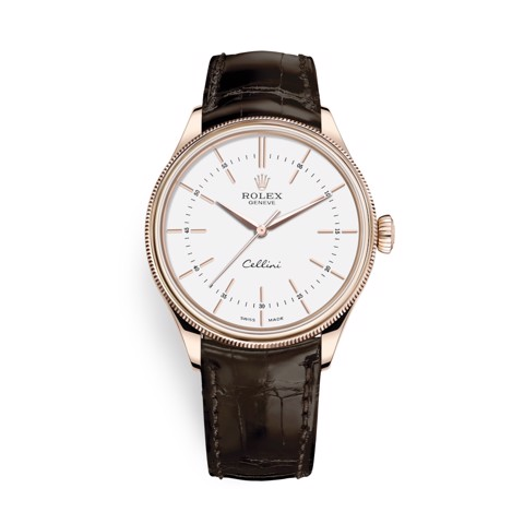 Rolex Cellini Time 39mm Rose Gold White Brown Strap 50505-0020
