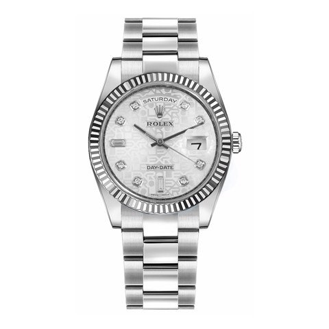 Rolex Day-Date 36mm White Gold Silver Jubilee Diamond Oyster 118239