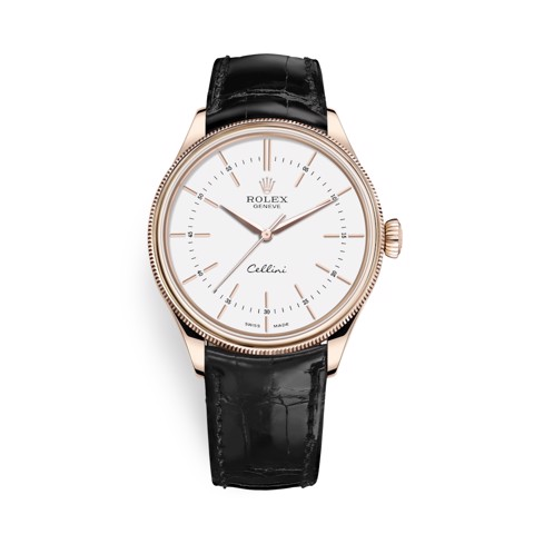 Rolex Cellini Time 39mm Rose Gold White Black Strap 50505-0021