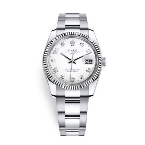 Nhân bản của Rolex Date 34mm Steel - White Gold Diamonds White 115234-0010
