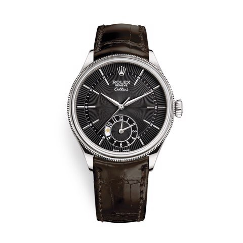 Rolex Cellini Dual Time 39mm White Gold Black Brown Strap 50529-0010