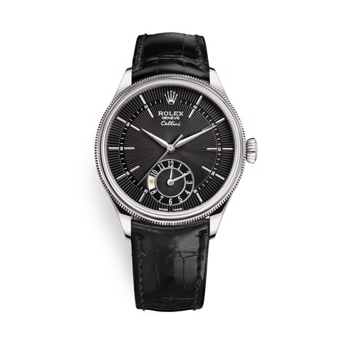 Rolex Cellini Dual Time 39mm White Gold Black Black Strap 50529-0007