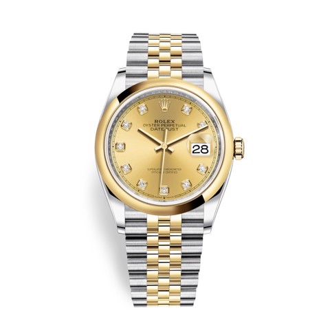 Rolex Datejust 36mm Stainless Steel and Yellow Gold Diamonds 126203-0017
