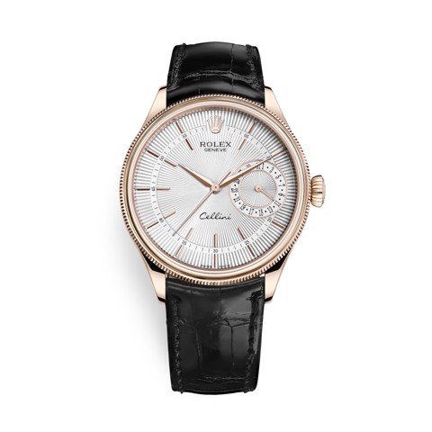 Rolex Cellini Date 39mm Rose Gold Silver Black 50515-0009